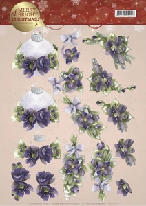 3D Knipvel Marieke Merry and Bright CD11123 Bouquets Purple