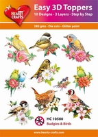 Hearty Crafts Easy 3D Toppers HC10580 Budgies & Birds