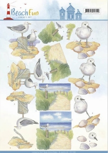 A4 Knipvel Jeanine CD11068 Beach Fun Seagulls