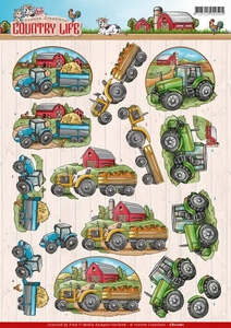 3D Knipvel Yvonne Creations CD11061 Country Life Tractors