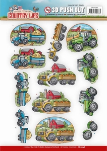 3D Push Out Yvonne Creations SB10248 Country Life Tractors