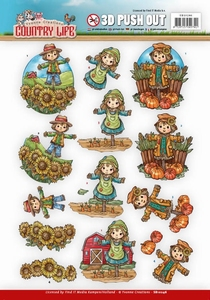 3D Push Out Yvonne Creations SB10246 Country Life Scarecrow
