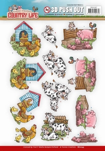 3D Push Out Yvonne Creations SB10247 Country Life Farm Anima