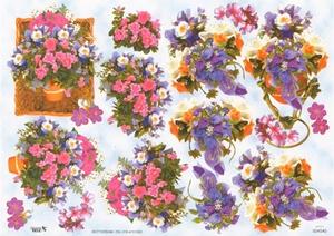 A4 Knipvel TBZ 504540 Bloemen paars/roze