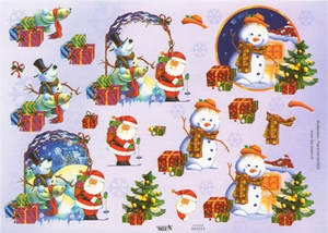A4 Kerstknipvel TBZ 564253 Kerstman/sneeuwman