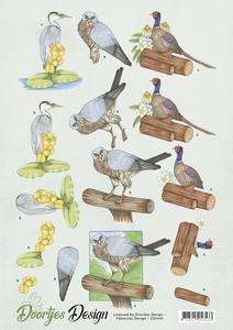 3D Knipvel Doortjes Design CD11137 Big Birds havik/fazant/