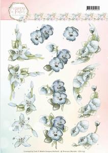 3D Knipvel Marieke Flowers in Pastels CD11139 True Blue