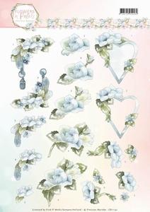 3D Knipvel Marieke Flowers in Pastels CD11141 Blue Dreams