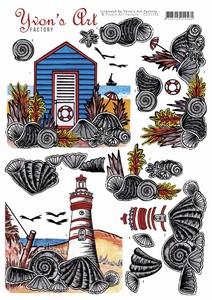 3D knipvel Yvon's Art Factory CD11162 On The Beach