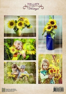 A4 Vel Nellie's Vintage Nevi079 Vintage sunflowers