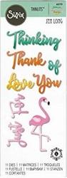Sizzix Thinits Die Set 662724 Phrases Thank You & Flamingo