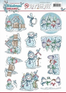 3D Push Out Yvonne Creations SB10277 Christmas Dreams Snowma