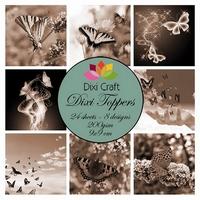 Dixi Craft Mini toppers ET0298 set butterflies - sepia