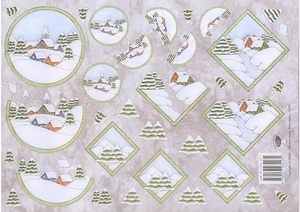 A4 Knipvel Nel van Veen 2276 Dorpje/sneeuwlandschap