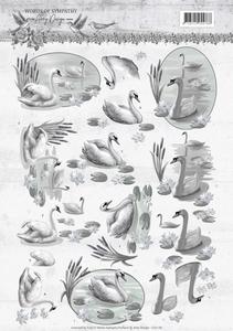 3D Knipvel Amy CD11181 Words of Sympathy Swans
