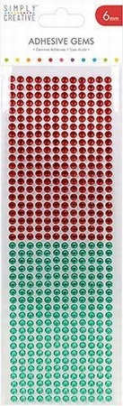 Simply Creative Adhesive Gems SCDOT021 Red And Green