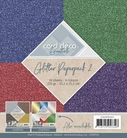 Card Deco Essentials Glitter Paperpack CDEPP002 Rood/groen