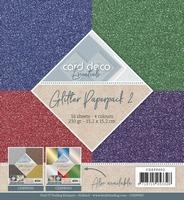 Card Deco Essentials Glitter Paperpack CDEPP002 Rood/groen