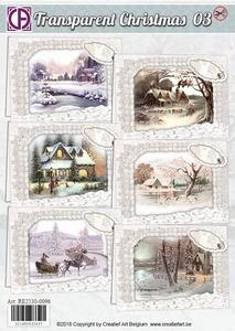 Creatief Art RE2530-0096 Transparent Christmas 03 Huisjes