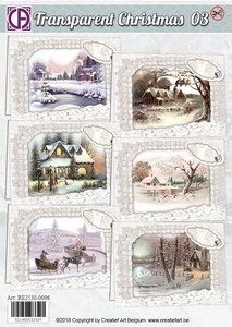 Creatief Art RE2530-0096 Transparent Christmas 03 Huisjes