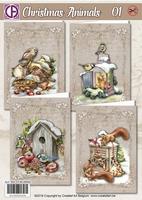 Creatief Art RE2530-0094 Christmas Animals 01 Vogel/eekhoorn