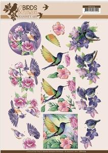 A4 Knipvel Jeanine CD11219 Birds and Flowers Tropical birds