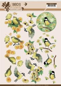 A4 Knipvel Jeanine CD11220 Birds and Flowers Yellow birds