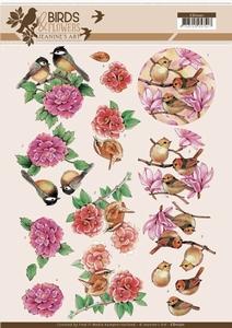 A4 Knipvel Jeanine CD11221 Birds and Flowers Pink birds