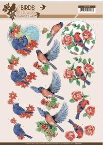 A4 Knipvel Jeanine CD11218 Birds and Flowers Blue birds