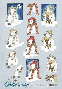 3D Knipvel Doortjes Design CD11226 Snowmen