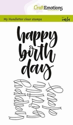 CraftEmotions A6 clearstamps 1807 Handletter Happy birth day