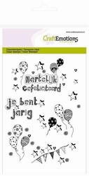 CraftEmotions A6 clearstamps 1261 Handletter Jarig ballonnen