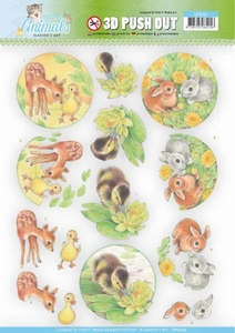 A4 Pushout Jeanine SB10335 Young Animals Ducklings and Rabbi