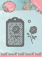 Yvonne's Die YCD10166 Flowers in a twist Rose Label