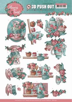 3D Stansvel Yvonne SB10340 Flowers in a twist Tea Time