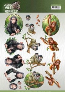 3D Knipvel Amy Design CD11299 Wild Animals 2 Monkeys/apen