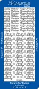 Sticker Starform Engelse tekst  333 Happy Birthday
