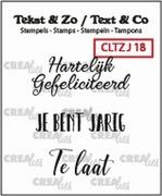 Crealies Clearstamp CLTZJ18 Tekst&Zo 3x Jarig NL