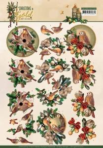 Amy Design Christmas in Gold A4 Knipvel CD11358 Birds in Gol