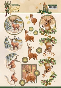Amy Design Christmas in Gold A4 Knipvel CD11359 Deers in Gol