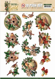 Amy Design Christmas in Gold Pushout SB10370 Birds in Gold