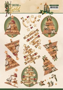 Amy Design Christmas in Gold A4 Knipvel CD11360 Trees in Gol