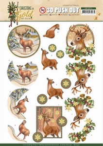 Amy Design Christmas in Gold Pushout SB10371 Deers in Gold