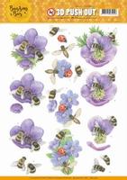 Jeanine's Art Buzzing Bees 3D Pushout SB10365 Purple Flowers