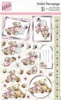 A4 Stansvel Foiled Decoupage ANT169481 Pink Bear