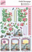 A4 Stansvel Foiled Decoupage ANT169664 Roses and Clemetis
