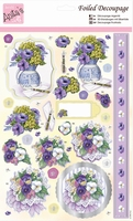 A4 Stansvel Foiled Decoupage ANT169668 Bunches of Pansies