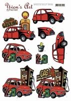 3D Knipvel Yvon's Art CD11342 Red Cars