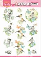 Jeanine's Art Happy Birds 3D Pushout SB10414 Blauwe dans
