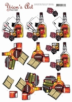 3D Knipvel Yvon's Art CD11442 Cognac and Whiskey